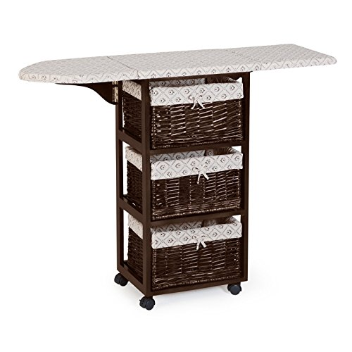 Dark Brown Espresso Mobile Ironing Board Station Cart With Storage Baskets by Home Improvements (Image #4)