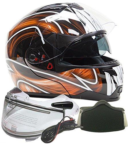 Typhoon Dual Visor Modular Full Face Snowmobile Helmet With Heated Shield, Breath Box (Orange, XXL)