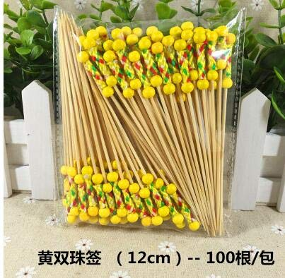 100pcs! China bamboo craft fruit fireworks toothpick kids food sticks interesting dessert cocktail sign wedding party supplies -