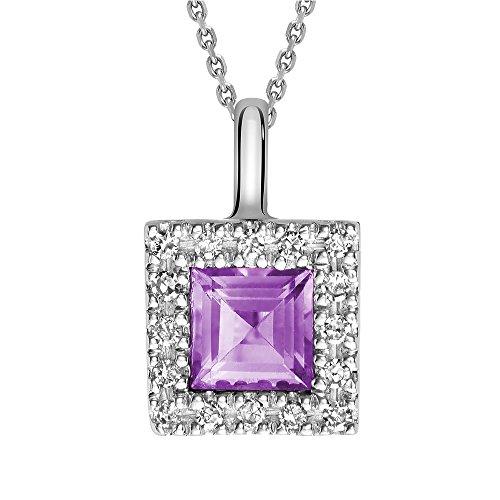 10K Gold Natural Diamond and Princess cut Amethyst Pendant (0.08TDW H-I Color,I1 Clarity) 18