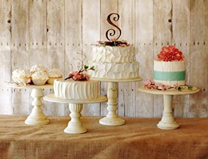 Great Vintage Style Pedestal Cake Stands   Set Of Three