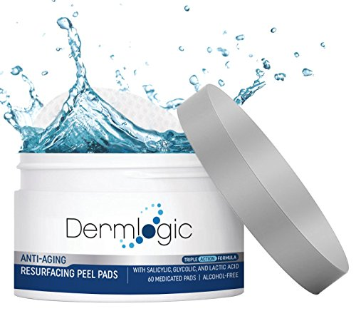 Anti Aging Resurfacing Peel Pads - Contains Salicylic, Glycolic, & Lactic Acid for Face & Body Including Hyaluronic Acid, Witch Hazel, Green Tea & Aloe Vera. Exfoliates to Correct Dark Spots & Scars. (Best Glycolic Peel Pads)