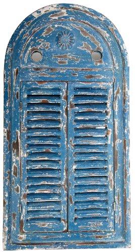 Shutter Mirror - Esschert Design WD13 Mirror Louvre Distressed, Blue Finish