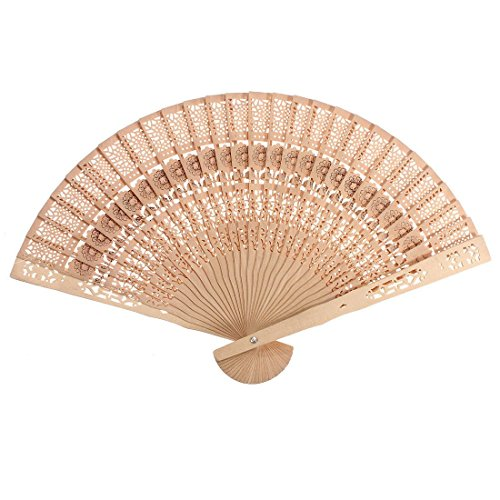 (Agordo Vintage Chinese Japanese Style Hollow Folding Bamboo WoodenCarved Hand Fan Kit)