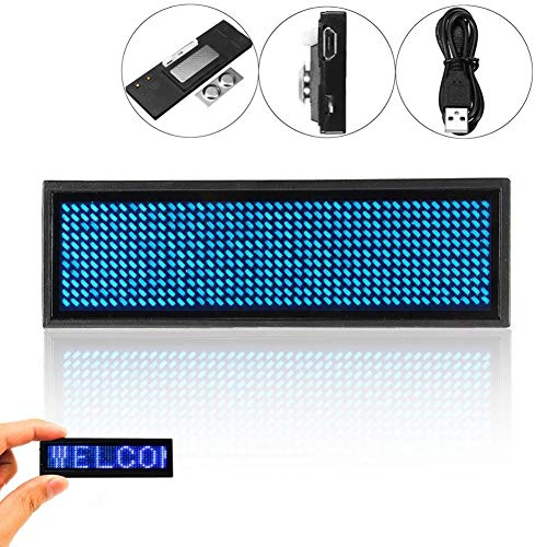 Niome Mini LED Digital Programmable Rechargeable Scrolling Name Message Tag Sign Blue (Led Sign Mini)