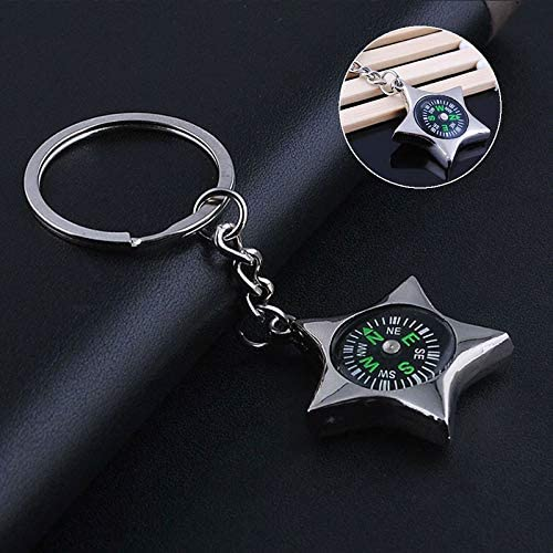 IKAAR Compass Navigation Keychain Mini Compass Five-pointed Star Outdoor Compass for Camping Hiking Wild Survival Travel Gift Silver