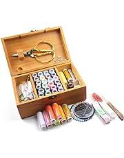 Caja de costura de madera con accesorios 39 Color Set de costura profesional Caja de almacenamiento