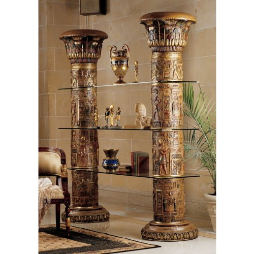 Antique Replica Hieroglyphics Egyptian Columns of Luxor Shelf