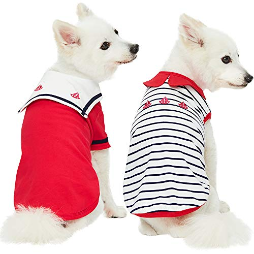 Blueberry Pet 2019 New Pack of 2 Soft & Comfy Sailor Suit Style Inspired Cotton Dog T Shirts in Cerise Red, Back Length 20