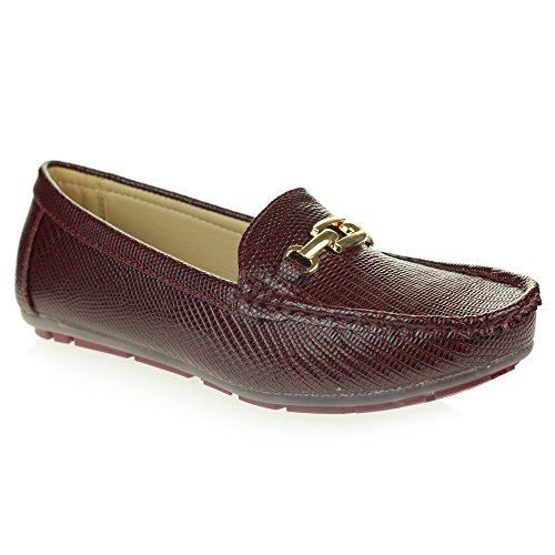 Womens Ladies Lightweight Padded Moccasins Comfort Everyday Office Work Casual Slip-On Flat Shoes Size Maroon