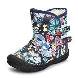 Kuner Baby Girls Pu Leather Faux Fleece Rubber Soles Outdoor Warm Snow Boots (14.5cm(18-24months) - Black Flowers)