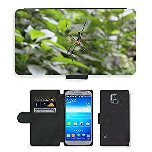 PU LEATHER case coque housse smartphone Flip bag Cover protection // M00130817 Telaraña Insecto Trampa Web // Samsung Galaxy S5 S V SV i9600 (Not Fits S5 ACTIVE)