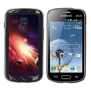 QCASE / Samsung Galaxy S Duos S7562 / planetas fuego galaxia arte polvo de estrella enana roja / Delgado Negro Plástico caso cubierta Shell Armor Funda Case Cover