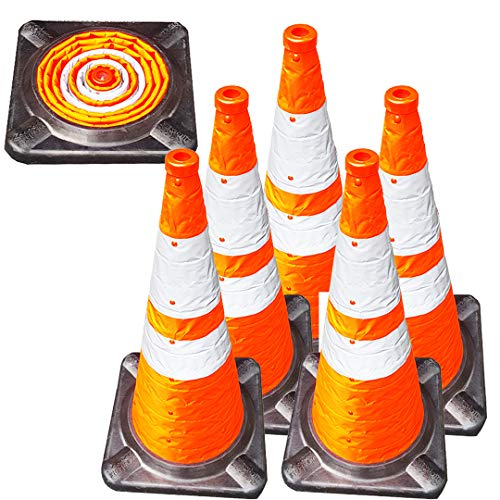 VIEWBRITE Collapsible Traffic Cones with LED Lighting - Safety Cones Emergency Road Cones Parking Cones Orange Collapsable Cones with Heavy-Duty Rubber Base - 28 inches Tall - 5 - Inch Rubber 28