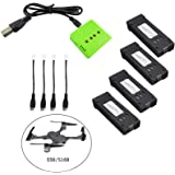 Fstoption 4pcs 3.7v 500mah Batteria e Caricabatterie per E58 S168 WiFi RC Quadcopter Drone Ricambi (4pcs Batterie RC)