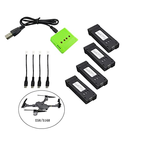 Fstoption 5pcs 3.7 v 500 mah batería y Cargador para E58 S168 WiFi RC Quadcopter Drone Piezas de Repuesto (4pcs Baterías RC)