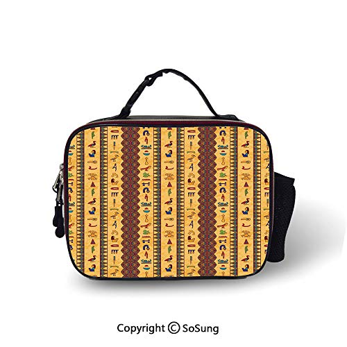 (Egyptian Cooler Bag Detachable Ancient Hieroglyphs and Floral Geometric Ornament Border Aged Paper Style Backdrop Smooth zipper for lunch bag,10.6x8.3x3.5 inch,Multicolor)