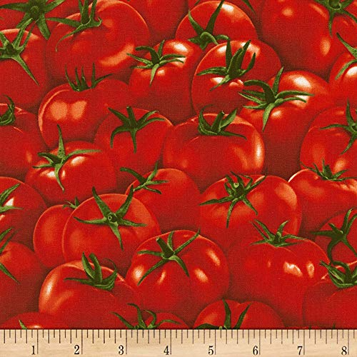 Timeless Treasures Veggie Bowl Tomatoes Red Fabric by The Yard (Print Tomato)