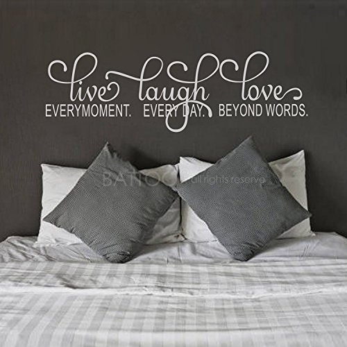 BATTOO Live Laugh Love Decal, Live Every Moment, Laugh Every Day, Love Beyond Words Wall Decal 40'' W Inspirational Quote, Vinyl Wall Decal Sticker, White by BATTOO
