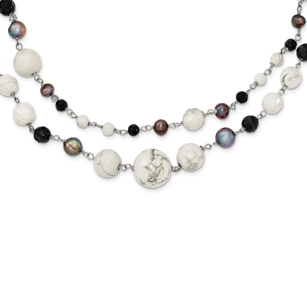 Jewelry Best Seller Sterling Silver Jet Crystal/Howlite/FW Cultured Peacock Pearl Neck