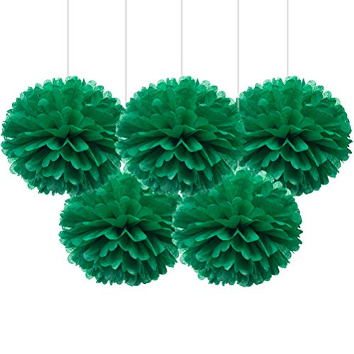 "(16"" Green Tissue Pom Poms, DIY Paper Flower Hanging Party Decorations, Pack of)"
