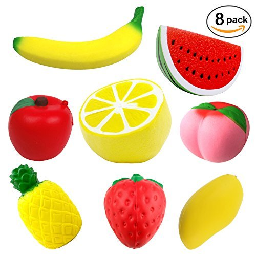 Prime Pack - 8 pcs Jumbo Squishies - Slow Rising Fruit Squishes - Apple Banana Lemon Mango Peach Pineapple Strawberry Watermelon - Cream Scented Kawaii Squishy - Stress and Anxiety Relief Wrist Toys