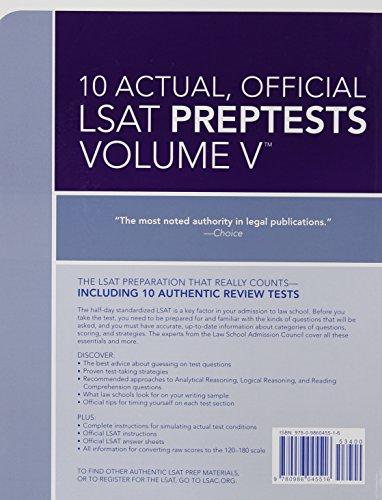 10 Actual, Official LSAT PrepTests Volume V: PrepTests 62 through 71 (Lsat Series)