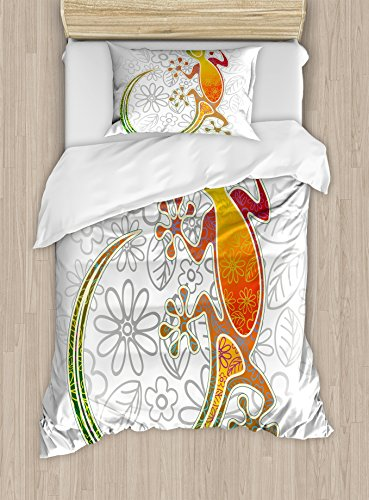 Twin Bed Lizard Little (Ambesonne Batik Duvet Cover Set Twin Size, Native Southeast Asian Common House Gecko Moon Lizard Tropical Monster Graphic Design, Decorative 2 Piece Bedding Set with 1 Pillow Sham, Multicolor)