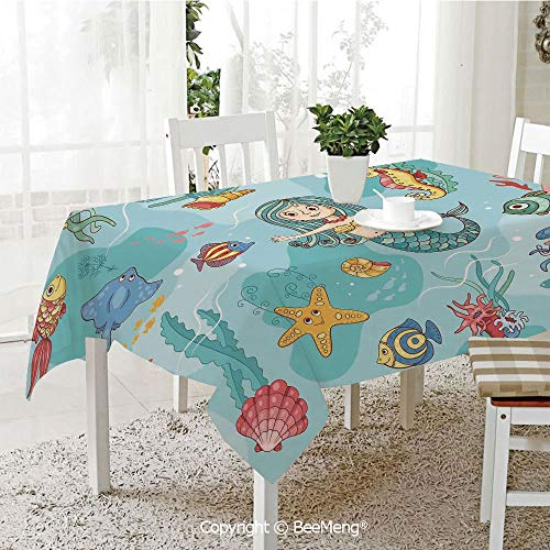 Large Family Picnic Tablecloth,Pattern with Mermaid Wildlife Tropical Jellyfish Goldfish Cheering Turtle Seahorse,59 x 104 inches ()