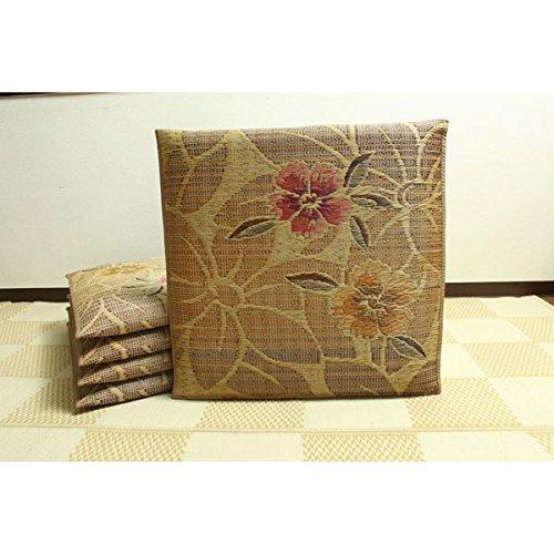 純国産/日本製 袋織 織込千鳥 い草座布団 『なでしこ 5枚組』 ベージュ 約60×60cm×5P B075B5R71L