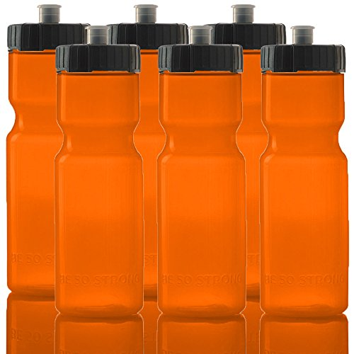 50 Strong Sports Squeeze Water Bottle Team Pack – 6 Bottles - 22 oz. BPA Free Easy Open Push/Pull Cap – Made in USA y Orange Black