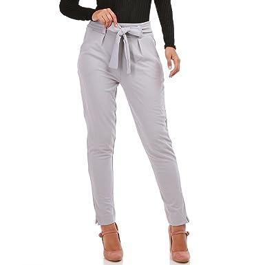 La Modeuse - Pantalon Taille Haute Femme avec Noeud à la Taille ... f1149182ef2