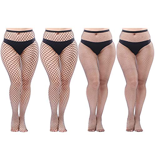 Aneco 4 Pairs Plus Size Fishnets Tights Sexy Black Fishnet Pantyhose Stockings Cross Mesh Tights Thigh High Stockings -