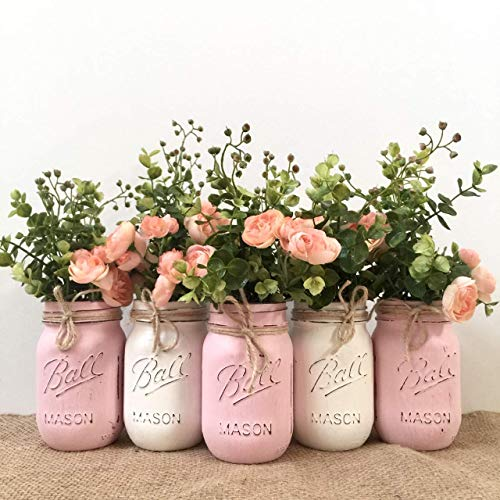 Mason Jar Centerpiece Set Variety of Jar Color Options Variety of Flower Options 345 piece sets Pint or Quart Size Silk Flowers Optional
