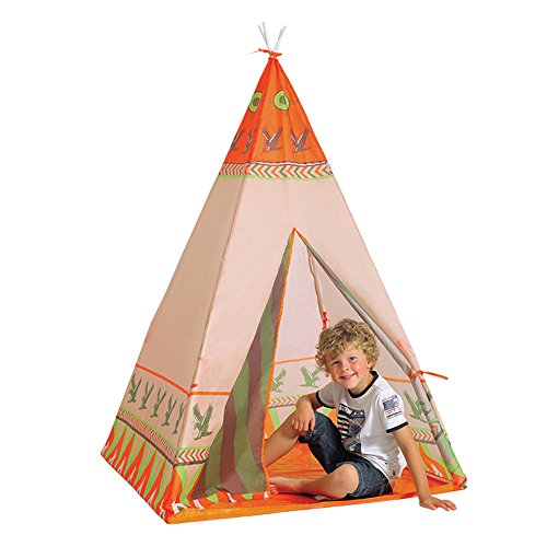 (SkyNature Dream House,Indoor/Outdoor Water Repellent Indian Foldable Kids Tipi Tent with 4 Poles,Flame-Resistant Toy Storage for Boys,Girls,Babies,Toddlers and Students)