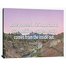 Love Yourself Stay Positive Beauty Comes From the Inside Out Jenn Prosperity Joy Serenity Perseverance Success Wood Wall Art Print Photo Image Decor
