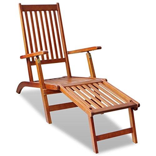 - vidaXL Outdoor Deck Chair with Footrest Acacia Wood Garden Patio Sun Chaise Lounger