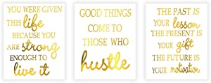 Motivational Quote Phrase Gold Foil Art Print,Inspirational Word Good Thing Cardstock Poster Inspiring Lettering Painting For Office,Living Room Decor Wall Picture(8 X 10 inch,set of 3,UNframed)