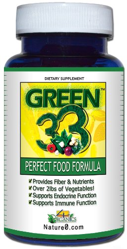Green 33 Vegetable Daily Greens-in-a-Pill Superfoods Supplement (Bottle 45 Capsules) by 4 Organics - All Natural 100% Whole-Food Vegetable Vitamin Tablet - Satisfaction Guaranteed