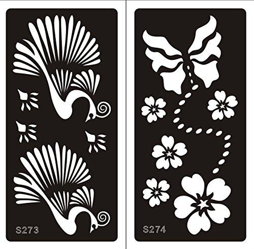2 Hojas Plantillas de Mehndi tatuaje Stencils autoadhesivo de henna S273 274 - desechable plantillas tatuajes de henna Tie