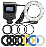 Ring Flash 48 Macro LED Ring Flash Bundle with LCD Display Power Control, Adapter Rings and Flash Diffusers for Canon 650D,600D,550D,70D,60D,5D Nikon D5000,D3000,D5100,D3100,D7000,D7100,D800,D800E,D60