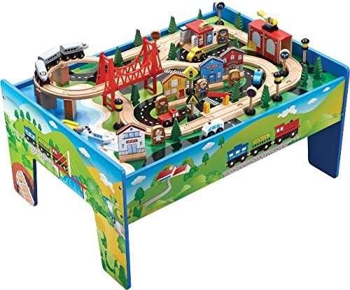 Wooden 80 Piece Train Table Includes Vehicles Tracks & Buildings
