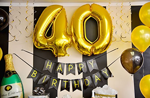 40th Birthday Party Pack Black Gold Happy Birthday