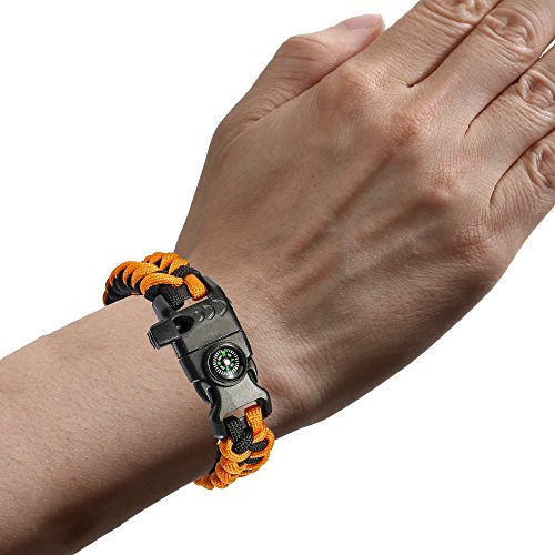 2-Pack-Paracord-Bracelet-8-in-1-Heavy-Duty-Multifunction-Outdoor-Paracord-Bracelet-Emergency-Survival-Gear-Kit-with-Compass-Parachute-Cord-Whistle-Flint-Fire-Starter-Emergency-Knife-more
