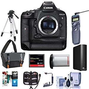 Canon EOS-1DX Mark II Digital SLR Camera - Bundle With 64GB Compact Flash Card, Camera Bag, LP-E19 Battery, Remote Shutter Trigger, 4TB External Hard Drive, Tripod, Software Package And More