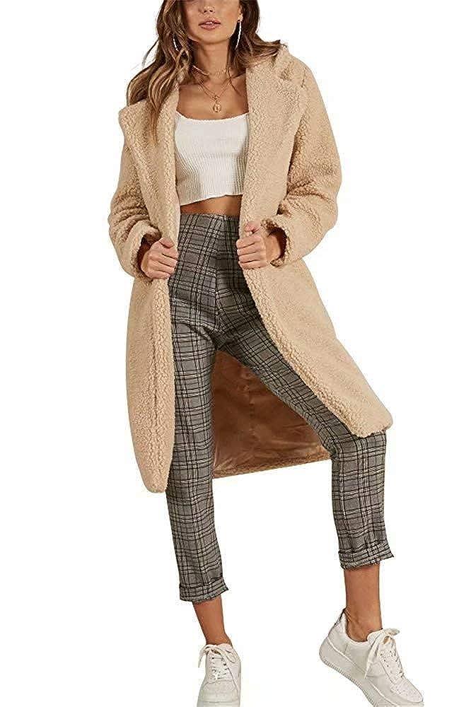 RUNYA Womens Long Coats Open Front Lapel Oversized Fleece Outwear Jacket Warm Winter