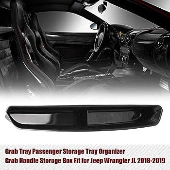Black Store-2 Interior Accessories XIEPER GrabTray Passenger Storage Tray Organizer Grab Handle Accessory Box for 2018-2019 Jeep Wrangler JK JKU 2-door//4-door