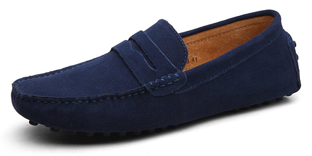 Eagsouni Herren Mokassin Bootsschuhe Wildleder Loafers Schuhe Flache Fahren Halbschuhe Slippers Navy Blau
