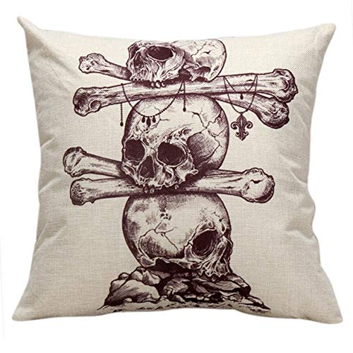 (Cushion Cover Pattern - Halloween Cushion Covers Sofa Chair Skull Pattern 45 45cm Linen Blend Throw Pillow Cover - Rustic Lace Spin Gold Outdoor Purple Couch Silver Neutral White Material)
