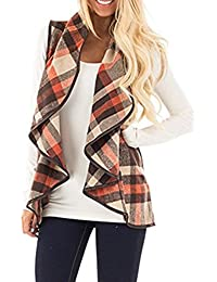 Womens Casual Lapel Open Front Sleeveless Plaid Vest Cardigan With Pockets